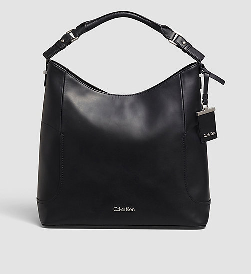 CALVINKLEIN Leather Hobo - BLACK - CALVIN KLEIN BAGS - main image