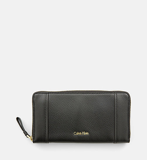 Large Leather Ziparound Wallet - BLACK - CALVIN KLEIN SHOES & ACCESSORIES - main image