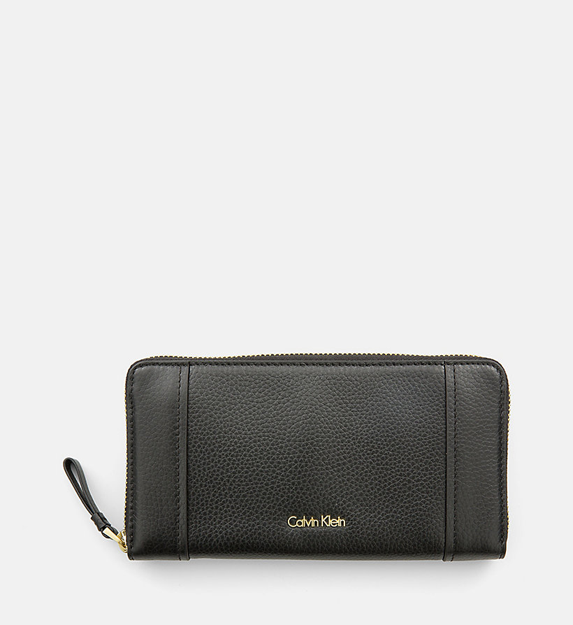 CALVINKLEIN Large Leather Ziparound Wallet - BLACK - CALVIN KLEIN SHOES & ACCESSORIES - main image