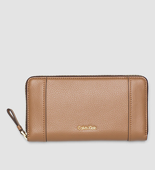 Large Leather Ziparound Wallet - CARAMEL - CALVIN KLEIN  - main image