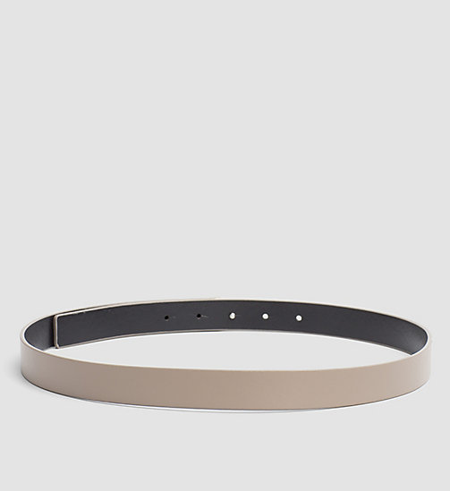 Leather Logo Plaque Belt - TAUPE - CALVIN KLEIN  - detail image 1
