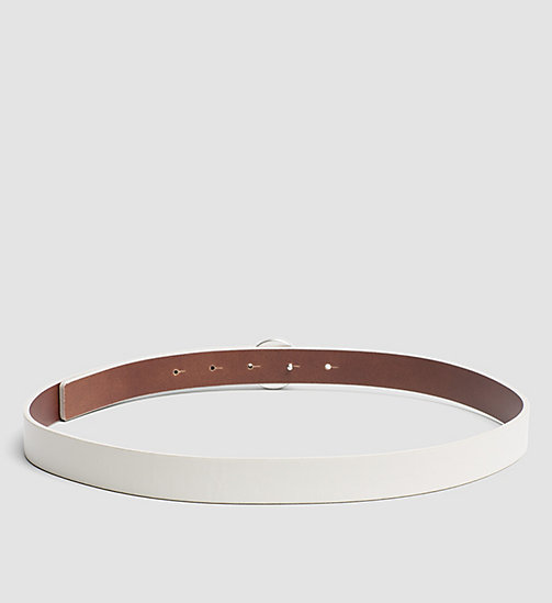 Leather Logo Plaque Belt - POWDER WHITE - CALVIN KLEIN  - detail image 1