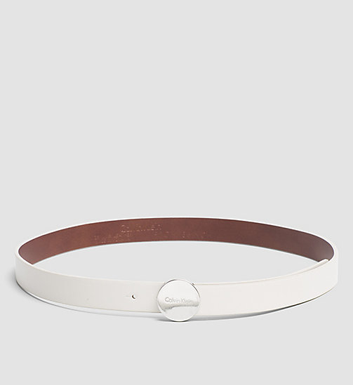 CALVINKLEIN Leather Logo Plaque Belt - POWDER WHITE - CALVIN KLEIN BELTS - main image