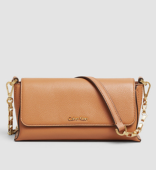 CALVINKLEIN Leather Clutch - CARAMEL - CALVIN KLEIN CLUTCH BAGS - main image