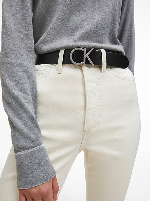 CALVINKLEIN Leather Logo Belt - BLACK - CALVIN KLEIN BELTS - detail image 1
