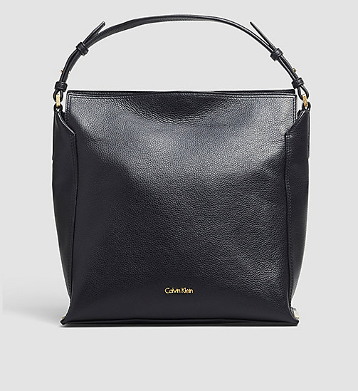 CALVINKLEIN Leather Hobo - BLACK - CALVIN KLEIN HOBO BAGS - main image