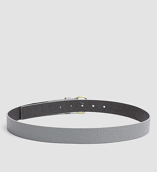 Leather Logo Belt - STEEL GREY - CALVIN KLEIN  - detail image 1
