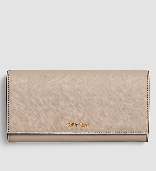 CALVINKLEIN Large Trifold Wallet - MUSHROOM - CALVIN KLEIN WALLETS - main image