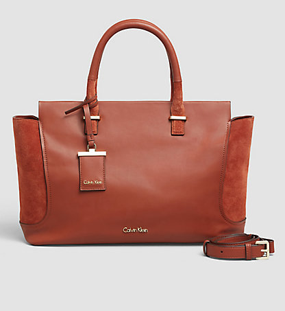 CALVIN KLEIN Suede/Leather Tote Bag - Carolyn K60K602339226