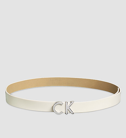 CALVINKLEIN Leather CK Buckle Belt - POWDER WHITE - CALVIN KLEIN BELTS - main image