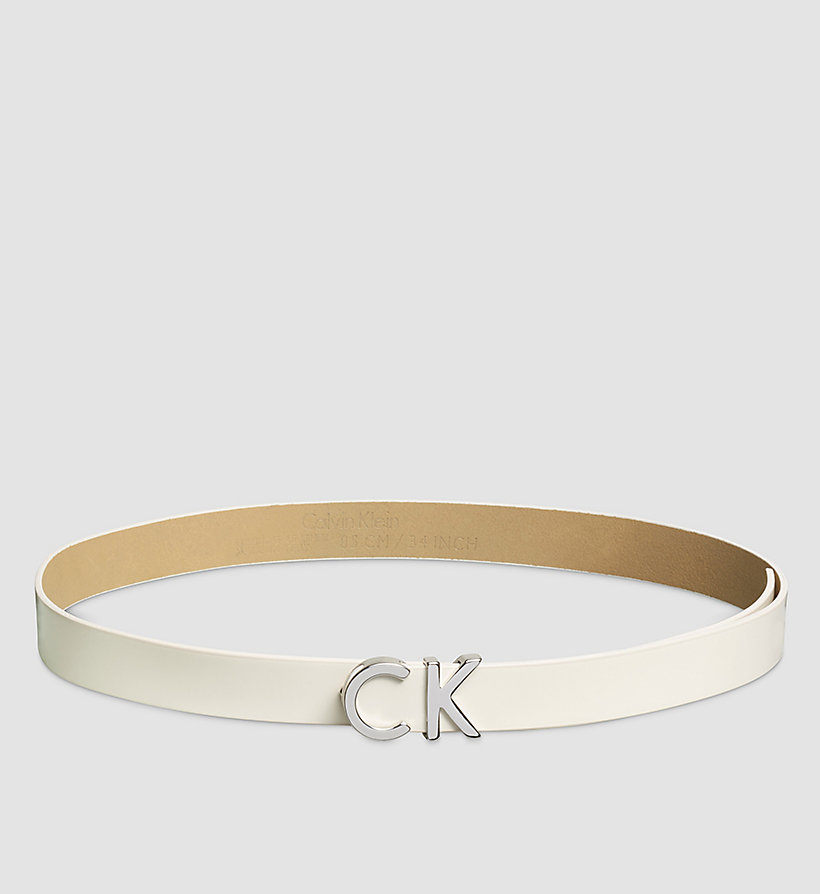CALVINKLEIN Leather CK Buckle Belt - POWDER WHITE - CALVIN KLEIN SHOES & ACCESSORIES - main image