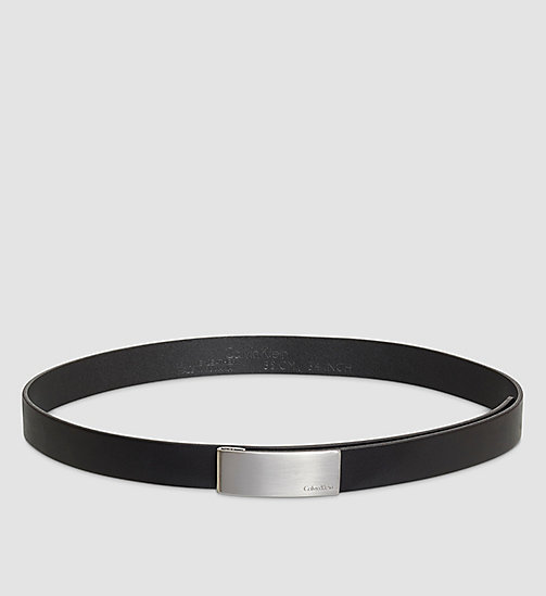 CALVINKLEIN Leather Curved Plaque Belt - BLACK - CALVIN KLEIN BELTS - main image