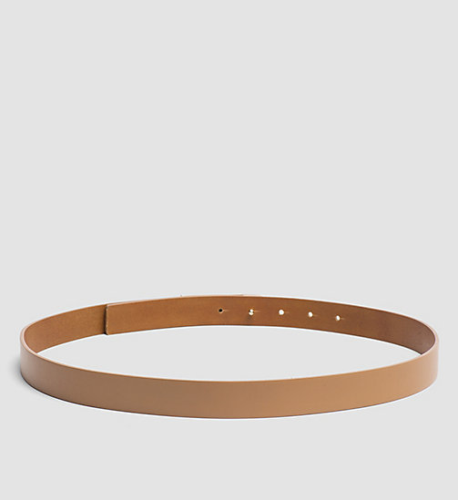 CALVINKLEIN Leather Curved Plaque Belt - CARAMEL - CALVIN KLEIN BELTS - detail image 1