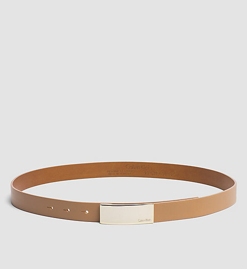 Leather Curved Plaque Belt - CARAMEL - CALVIN KLEIN SHOES & ACCESSORIES - main image