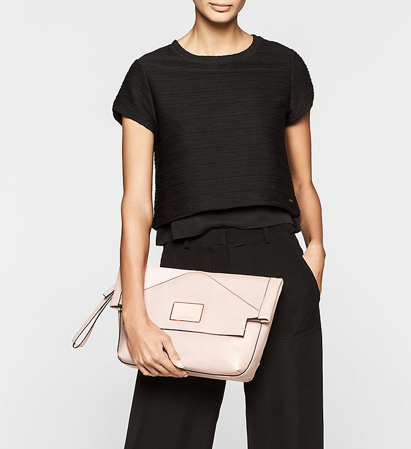 CALVINKLEIN Leather Clutch - BLACK - CALVIN KLEIN SHOES & ACCESSORIES - detail image 1