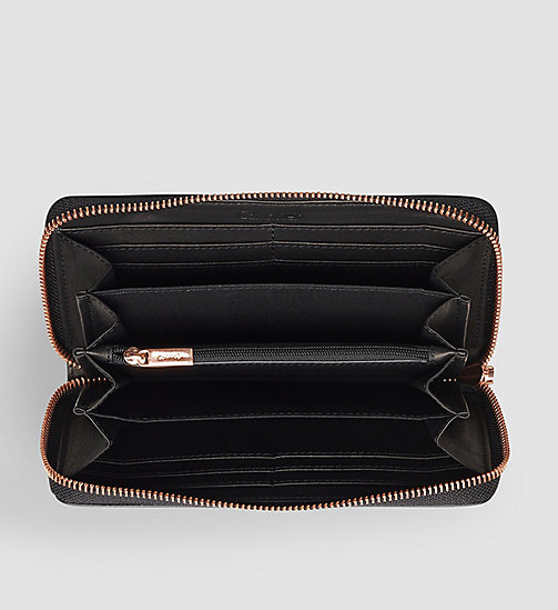CALVINKLEIN Leather Ziparound Wallet - BLACK - CALVIN KLEIN  - detail image 1