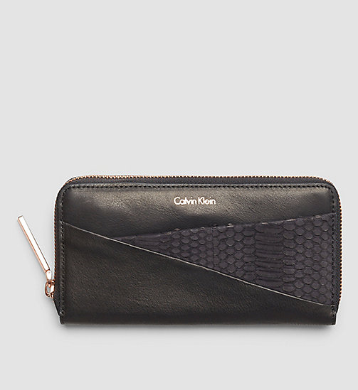 CALVINKLEIN Leather Ziparound Wallet - BLACK - CALVIN KLEIN  - main image