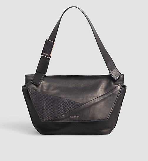 CALVINKLEIN Leather Satchel - BLACK - CALVIN KLEIN SATCHELS - main image