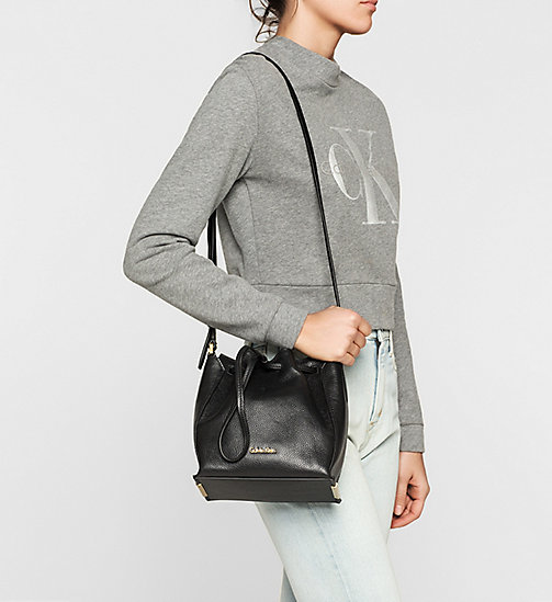 Leather Bucket Bag - BLACK - CALVIN KLEIN SHOES & ACCESSORIES - detail image 1