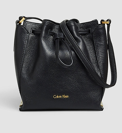 CALVINKLEIN Leather Bucket Bag - BLACK - CALVIN KLEIN CROSSOVER BAGS - main image