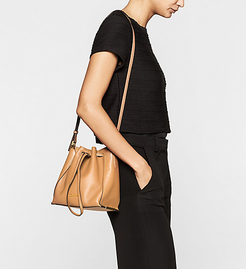 Leather Bucket Bag - CARAMEL - CALVIN KLEIN SHOES & ACCESSORIES - detail image 1