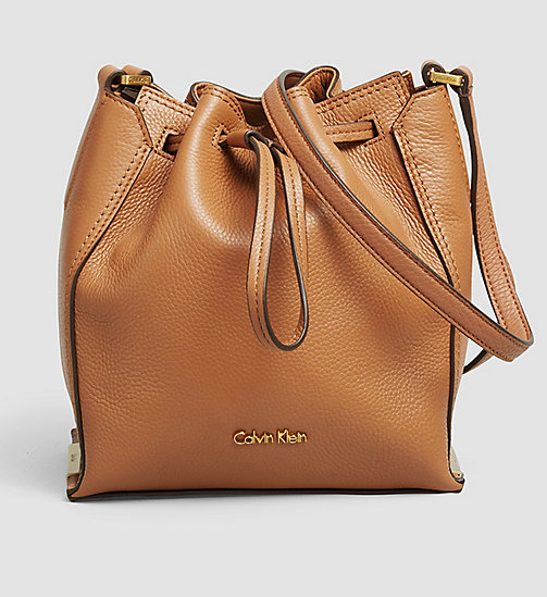 CALVINKLEIN Leather Bucket Bag - CARAMEL - CALVIN KLEIN CROSSOVER BAGS - main image