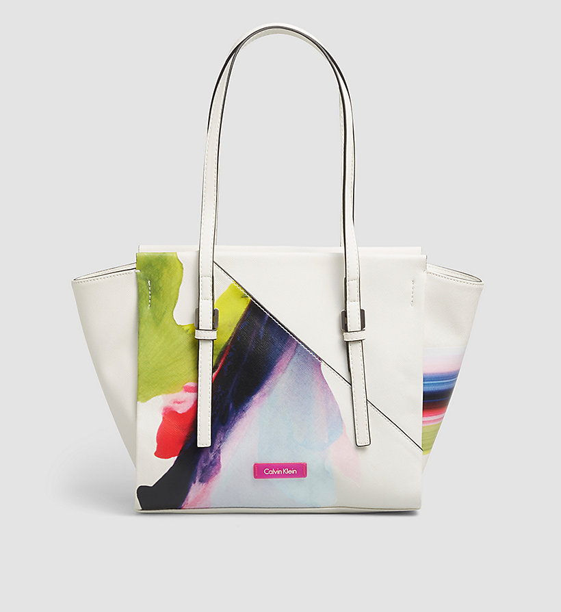 CALVINKLEIN Printed Medium Tote Bag - POWDER WHITE - CALVIN KLEIN SHOES & ACCESSORIES - main image