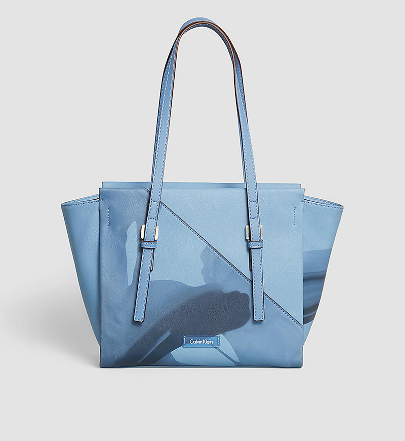 CALVINKLEIN Printed Medium Tote Bag - CASHMERE BLUE - CALVIN KLEIN SHOES & ACCESSORIES - main image