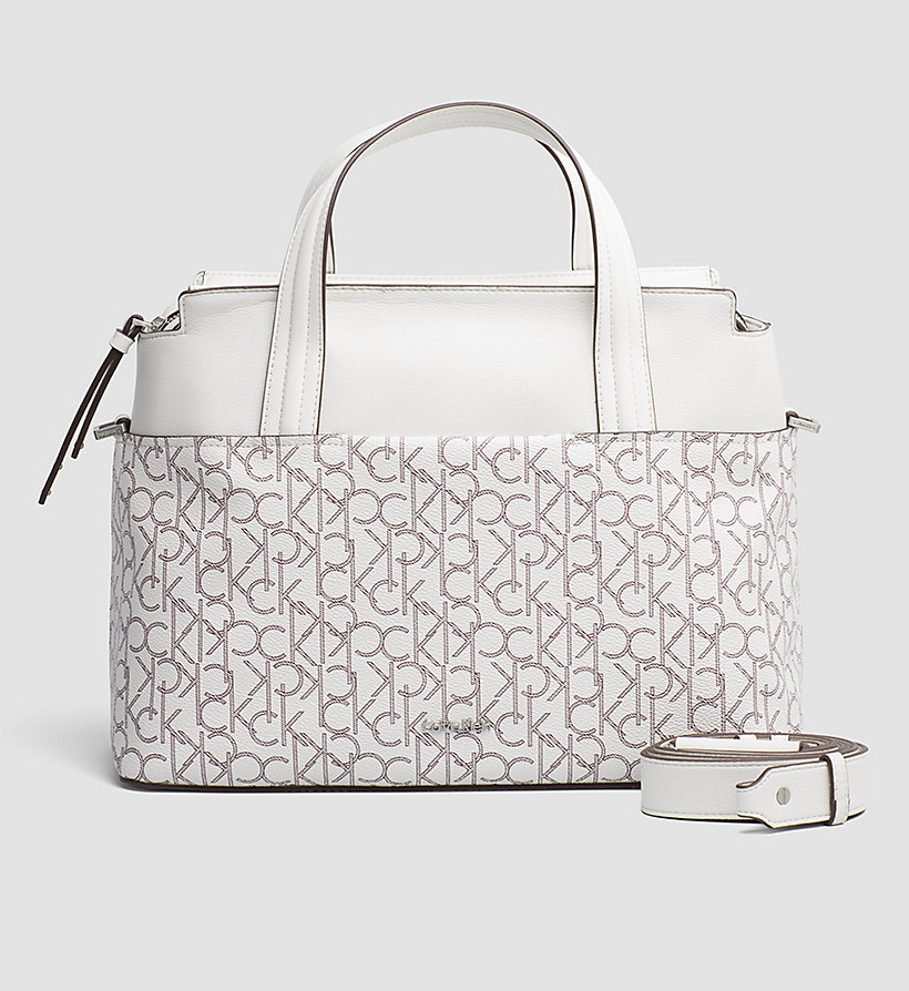 CALVINKLEIN Large Logo Tote Bag - WHITE MONOGRAM - CALVIN KLEIN SHOES & ACCESSORIES - main image