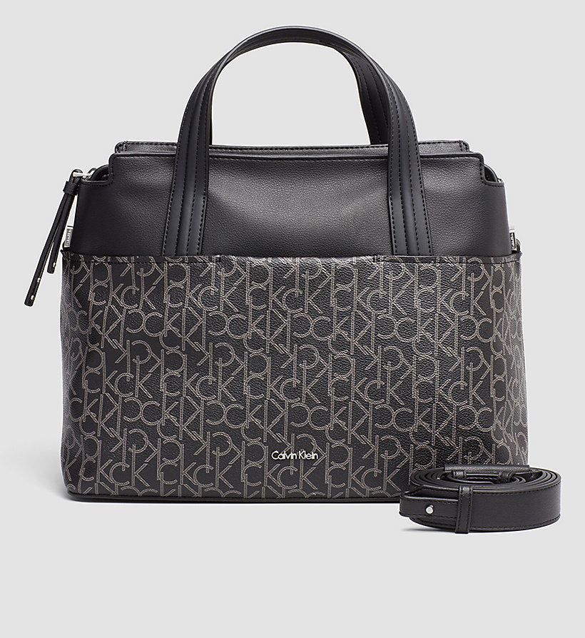 CALVINKLEIN Large Logo Tote Bag - BLACK MONOGRAM - CALVIN KLEIN SHOES & ACCESSORIES - main image