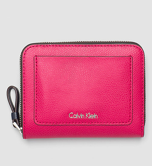 CALVINKLEIN Leather Ziparound Flap Wallet - BRIGHT ROSE - CALVIN KLEIN WALLETS - main image