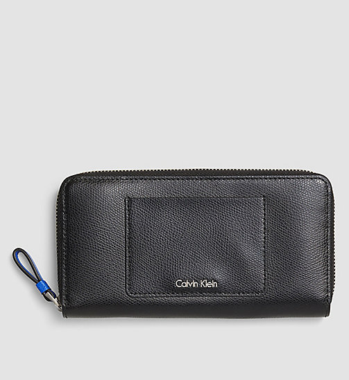 CALVINKLEIN Large Leather Ziparound Wallet - BLACK - CALVIN KLEIN WALLETS - main image