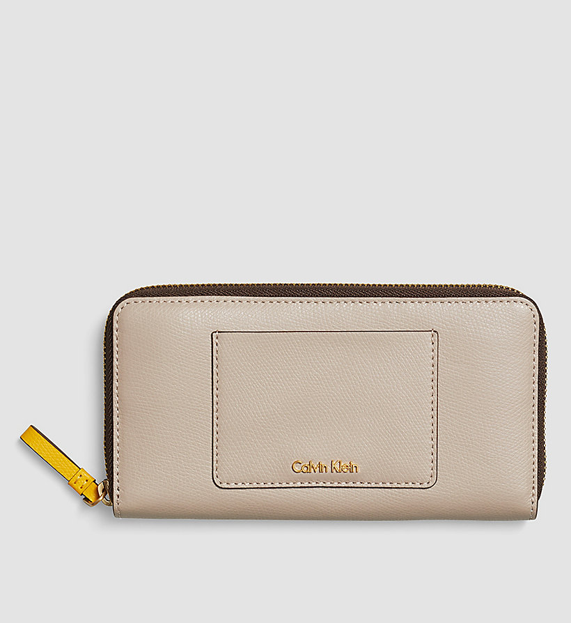 CALVINKLEIN Large Leather Ziparound Wallet - MUSHROOM - CALVIN KLEIN SHOES & ACCESSORIES - main image