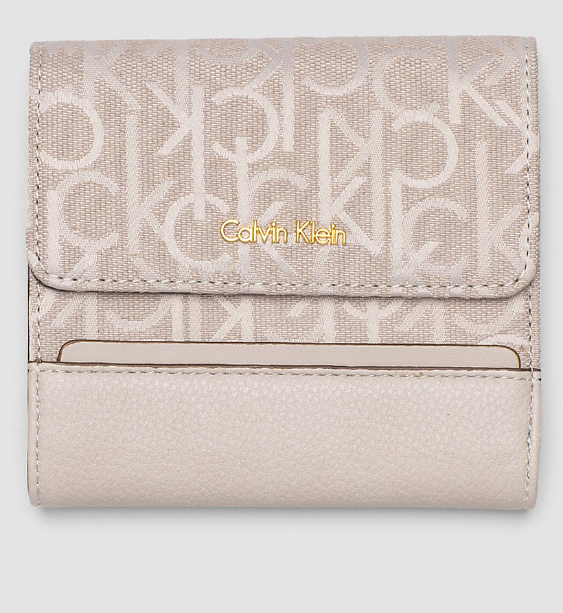CALVINKLEIN Logo Jacquard Trifold Wallet - MUSHROOM - CALVIN KLEIN SHOES & ACCESSORIES - main image