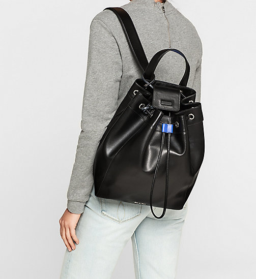 Leather Backpack - BLACK - CALVIN KLEIN  - detail image 1