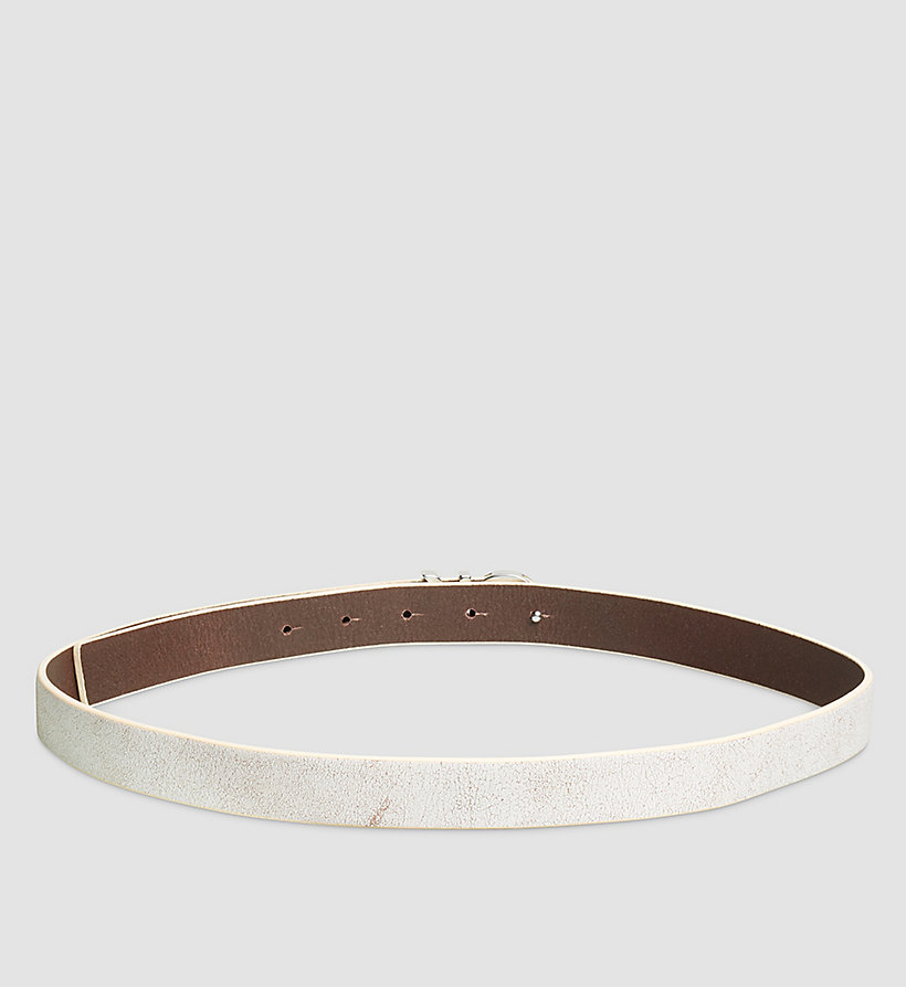 CALVINKLEIN Crackle Leather CK Buckle Belt - POWDER WHITE - CALVIN KLEIN SHOES & ACCESSORIES - detail image 1