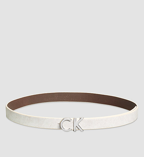 Crackle Leather CK Buckle Belt - POWDER WHITE - CALVIN KLEIN  - main image