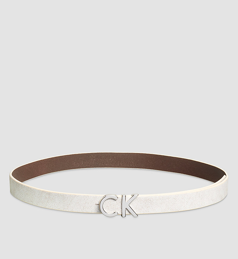CALVINKLEIN Crackle Leather CK Buckle Belt - POWDER WHITE - CALVIN KLEIN SHOES & ACCESSORIES - main image