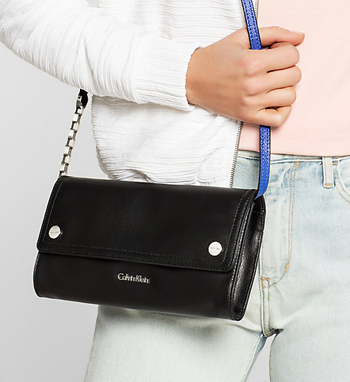 CALVINKLEIN Leather Clutch - BLACK - CALVIN KLEIN BAGS - detail image 1