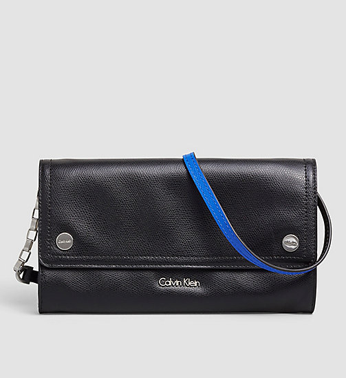 CALVINKLEIN Leather Clutch - BLACK - CALVIN KLEIN BAGS - main image