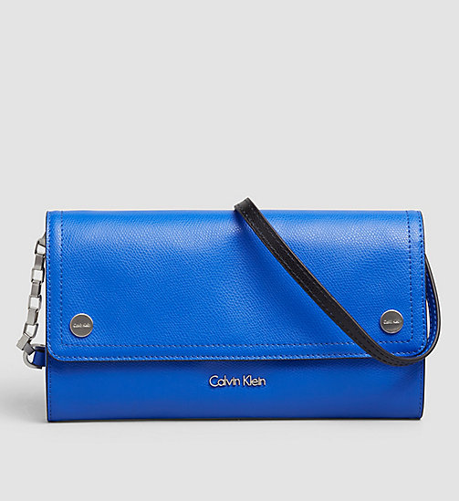 CALVINKLEIN Leather Clutch - DAZZLING BLUE - CALVIN KLEIN BAGS - main image