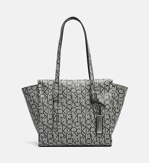 CALVINKLEIN Medium Logo Tote Bag - GRANITE MONOGRAM - CALVIN KLEIN SHOES & ACCESSORIES - main image