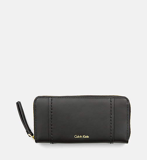 CALVINKLEIN Large Leather Zip-Around Wallet - BLACK - CALVIN KLEIN SHOES & ACCESSORIES - main image