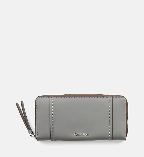 CALVINKLEIN Large Leather Zip-Around Wallet - STEEL GREY - CALVIN KLEIN SHOES & ACCESSORIES - main image