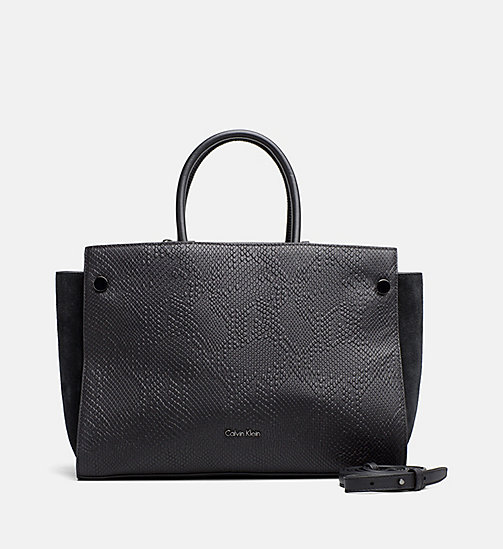 CALVINKLEIN Textured Leather Duffle Bag - BLACK - CALVIN KLEIN DUFFLE BAGS - main image