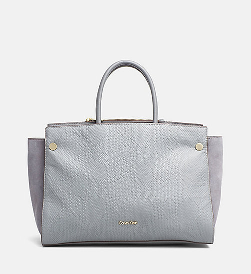 CALVINKLEIN Textured Leather Duffle Bag - STEEL GREY - CALVIN KLEIN DUFFLE BAGS - main image