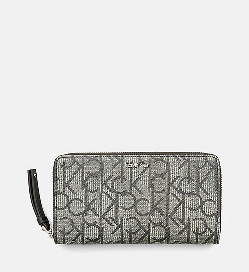Large Zip-Around Logo Wallet - GRANITE MONOGRAM - CALVIN KLEIN SHOES & ACCESSORIES - main image