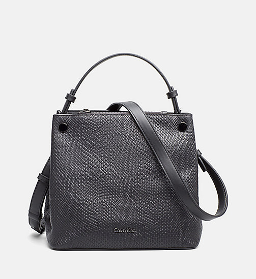 CALVINKLEIN Textured Leather Cube Bag - BLACK - CALVIN KLEIN TOTE BAGS - main image