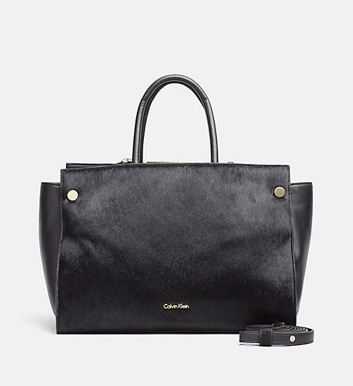 CALVINKLEIN Leather Duffle Bag - BLACK - CALVIN KLEIN DUFFLE BAGS - main image