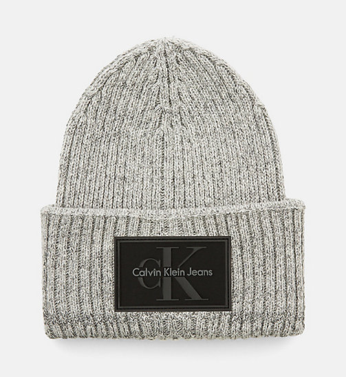 CALVINKLEIN Wool Blend Rib Beanie - STEEL GREY - CALVIN KLEIN ACCESSORIES - main image